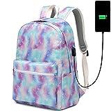 CAMTOP School Laptop Backpack Women Girls Bookbag Flower College Backpack with USB Port Water Resistant (T62-b Star-USB)