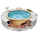 Festnight Whirlpool-Umrandung Rund Whirlpool Spa Schwimmbecken Poolumrandung Wirlpool Ausen Pool mit Umrandung Hellgrau Poly Rattan
