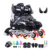 Inline-Skates, Verstellbare Rollschuhe mit Blinkenden Leuchträdern, Inline-Rollschuhe mit Helmset für Anfänger, Kinder, Jungen und Mädchen (EU38~42,Schwarz)