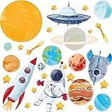Pandawal Wandtattoo Kinderzimmer Junge Deko Astronaut Planeten Sterne Weltraum Wanddeko für Kinder und Babyzimmer Wandaufkleber (S)