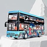 Xolye Die Tür kann mit Doppeldecker-Bus-Spielzeug 2-Farben geöffnet Werden. Kinderspielzeug-Auto-Geschenk-Metall-Anti-Fall-Sound und leichte Zieh-Back-Spielzeugauto (Color : Blau)