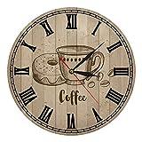 GONGFF 12 Zoll Retro nostalgische römische Zifferuhr Kaffeegetränk Acryl Wanduhrwerk Küche/Schlafzimmer/Cafe/Korridor Atmosp