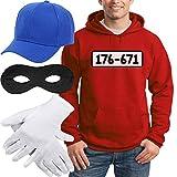 Shirtgeil Panzerknacker Banditen Kostüm Hoodie + MÜTZE + Maske + Handschuhe Kapuzenpullover Hoodie Medium R