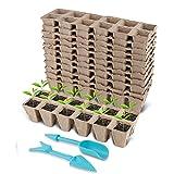 UNCLE.XIA Anzuchttöpfe für Pflanzen, 4 x 4 cm Anzuchttöpfe, Praktisches Set mit120 Stück, biologisch abbaubar, 100% torffrei aus Zellulose, Pflanztopf / Saattopf / Pflanzenanzucht