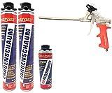 Toolzy 101717 4er Set 1K PU Zargenschaum 750 ml Pistolenschaum Made in Germany Reiniger