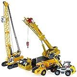 LHY Robust 4-teiliges Set Legierung aus Metalldruckguss-Spielzeug-Auto-Kran-Turm Bulldozer Kipper-Simulation Engineering Modell Junge Mädchen Cognitive Kollektion Geschenk dauerhaft