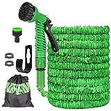 Flexibler Gartenschlauch, Flexischlauch Wasserschlauch, Dehnbarer Schlauch Flexibel Gartenschläuche mit 7 Funktionen Sprühdüse, 3/4 Zoll und 1/2 Zoll Adapter, Wandhalterung (50FT)