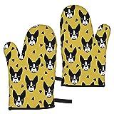 YudoHong Ofenhandschuhe für Hunde, Motiv: Boston Terrier, Senf Gelb, mit dickem Futter, für Zuhause, Grillen, Camping, Küche, Backen