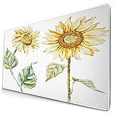 Nettes Mauspad ,Aquarell Mode helle Sonnenblumen,Rechteckiges rutschfestes Gummi-Mauspad für den Desktop, Gamer-Schreibtischmatte, 15,8 'x 29,5'