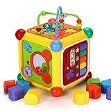 Holz Baby Kleinkind Spielzeug Puzzle Baby-Kleinkind Activity Center Musical Aktivität Cube Learning Center Spielzeug Interaktive Lernaktivität Spielen Kreisperlenlabyrinth.