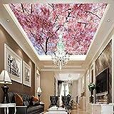 Fototapete 3D Effekt Tapete HD schöne Kirschblüte Decke Deckenbild Vliestapete 3D Wallpaper rne Wanddeko Wandbilder