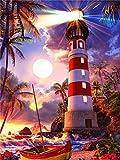 DIY 5D Diamantmalerei Leuchtturm Landschaft Volldiamant Stickerei Bild von Strass für Festival Geschenke A5 40x50cm