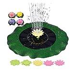 QAQWER Solar Springbrunnen Solar Teichpumpe mit 5 Arten von Düsen & Simulationslotus, Geringer Energieverbrauch Brunnen Solar für Garten Vogel Bad Pool
