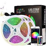WIFI LED Streifen 10M RGB 5050SMD 300LEDs, LED Stripes Steuerbar via App+Fernbedienung+12V Netzteil+Musik Sync+16 Millionen Farben, Lichtband Selbstklebend Lichtband Kompatibel mit Alexa, Google Home