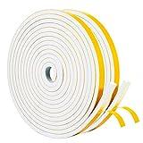 Yotache Fenster Dichtungsband Selbstklebend 12 mm(B) x 6 mm(D) Dichtungsstreifen Türdichtung Dichtband Klimaanlage Isolierband (2 Rollen je 4M lang)