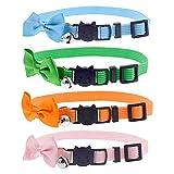 Fas Plus Katzenhalsbänder mit Glöckchen und Fliege zum Abreißen, verstellbar, Sicherheitshalsband für Kätzchen, Welpen, Grün, Pink, Blau, Orange, 4 Stück