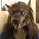 MeiLiu Wolfs Maske, Latex Tierkopfmaske, Halloween Cosplay Kostüme Dekoration Requisiten, Neuheit und lustige Kopfbedeckungen, Adult Realistic Wolf Headwear für Halloween Party