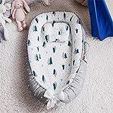 KCBYSS 85 * 50cm Baby Nest für Neugeborene Stubenwagen mit Kissen Tragbares Kinderbett,Baby nestchen 100% reine Baumwolle 0-36 Monate Kuscheln Bionic Bumpers Baby Nests-Grey_forest