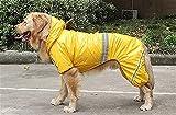 LUBINGT Hunde Regenjacke 4 Beine wasserdicht Overall Reflektierende große Hunde Labrador Mit Kapuze Regenmantel Regen Mantel Pet Jacke Welpen Outdoor Kleidung Kleidung (Color : Yellow, Size : M)