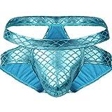 Freebily Jockstrap String Tanga für Herren sexy Unterwäsche Männer Low Rise Fischschuppen Slips Unterhose Erotisch Nachtwäsche Gr. M-XXL Himmelblau XXL