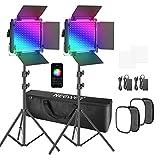 Neewer 2 Pack 530 PRO RGB LED-Videolicht mit APP Steuerung Softbox Kit, 360°Vollfarbe, 45W Videobeleuchtung CRI 97+ für Spiele, Streaming, Zoom, YouTube, Webex, Rundfunk, Webkonferenz, Fotografie