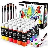Gifort Acrylfarbenset, 36x60ml wasserdichtes Acrylfarbenpigment + 6 Pinsel zum Malen auf Holz, Steinen, Keramik, Stoff, lebendigen Farben und Nicht verblassend, ideal für Anfänger und Profis