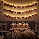 LED Fotoclips Lichterkette - 6 Meter   Mit Netzstecker NICHT batterie-betrieben   30 LED Klammern warm-weiß   Fotoleine für Polaroid Foto   Deko Kette zum Aufhängen von Fotos   CozyHome Lichterketten