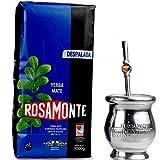 Yerba Mate Rosamonte Despalada 1 kg Edelstahl Mate Tee Set: Yerba Matebecher - Kalebasse | Yerba Mate Tee Strohhalm - Bombilla | Reinigungsbürste enthalten