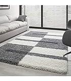 Teppich Hochflor Shaggy Langflor Wohnzimmer Karo Muster Florhöhe 3 cm - Grau-Weiss-Hellgrau, 160x230 cm