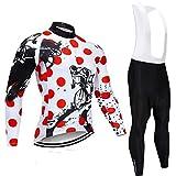 LLYY Radjacke Herren Thermische Fleece mit 3D Polster Hosen,Langarm-Radtrikot-Set, Fahrradbekleidung, MTB-Fahrradtrikot, Uniform Men Clothes-7_4XL