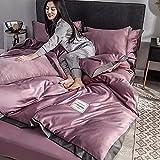 Bettbezug 220 X 240 cm,Set Von EIS Seide Vierteilig Wasserwaschende SeidenbettwäSche-Ausblenden_2.0m Bett (4 StüCk)