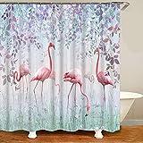 XCBN Elegante Flamingo-Duschvorhang Toilette wasserdichte und schimmelresistente Trennwand trocken und nass Separate Duschvorhang A7 180X180CM