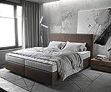 DELIFE Bett Dream-Well Lederimitat Dunkelbraun 180x200 cm mit Matratze und Topper
