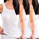 HERMKO 1325 3er Pack Damen Longshirt ideal für drüber und drunter (Weitere Farben) aus 100% Bio-Baumwolle, Farbe:weiß, Größe:40/42 (M)