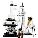 Destillations-Instrument, Glaswaren-Set für ätherisches Öl, 1000 ml, mit elektrischem Brenner
