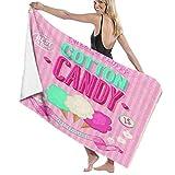 Badehandtücher,Zuckerwatte-Werbeplakat-Design Alter Blick süß und flauschig leckere Aromen,Mikrofaser-Strandtücher Schnelltrocknende weiche Decke für Badezimmer-Pool-Reisen
