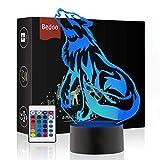 Weihnachtsgeschenk Magie Wolf Lampe 3D Illusion 16 Farben Touch-schalter USB Einsatz LED-Licht Geburtstagsgeschenk und Party Dekoration