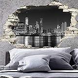 Sticker 3D Effekt   Wandaufkleber New York Skyline - Tapete Dekoration optische Täuschung Raum und Wohnzimmer   60 x 90 cm