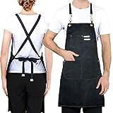 Toohowo Kochschürze, Kreuzrücken-Schürze für Männer und Frauen, mit verstellbaren Trägern und großen Taschen, schwarz, für Arbeit und Küche, Kochschürze, M-XXL