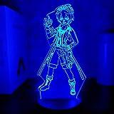 Anime-Lampe, Genshin Impact-Figur, Bennett-Tisch, USB, Farbwechsel, Kind, Schlafen, 3D-LED-Nachtlicht für Jungen, Geburtstagsgeschenke, Game-Touch-Steuerung