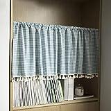 HUIJ Küchenvorhänge,Streifenvorhänge für die Küche,Fenster-Halbstangenvorhänge mit Quastennähten,für Küchencafé Kleine Halbfenstervorhänge für das Badezimmer