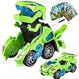 Yojoloin Dinosaurier Spielzeug Transformer Spielzeug, Transform Auto Spielzeug Spielzeugauto Geschenk für Jungen Kinder ab 3 4 5 6 7 8 9 Jahre, Switch and Go Dino Roboter Cars mit Licht und Musik