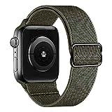 MroTech kompatibel mit Apple Watch Armband 44mm 42mm Uhrenarmband Elastic Woven Loop Ersatzarmband Sport Band Ersatz für iWatch SE Serie 6/5/4/3/2/1 Nylonarmband Nylon Stoff Schlaufe 42/44 mm Grün