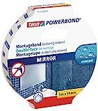 tesa Powerbond MIRROR - Doppelseitiges Montageband zur Fixierung von Spiegeln - Feuchtigkeitsbeständiges Klebeband für Bad und Dusche - 5 m x 19 mm