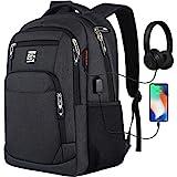 marcello Laptop Rucksäcke mit USB-Ladeanschluss Herren Damen für Arbeit Schule Uni Schulrucksack für Jungen Teenager mit Laptopfach & Anti Diebstahl Tasche (17,3 Zoll Schwarz)