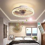 XSHBHD Deckenventilator Mit Beleuchtung, Fernbedienung,Einstellbar Windgeschwindigkeit LED Dimmbar 30W Decke Lampe Leise Ventilator Kronleuchter,Für Esszimmer Wohnzimmer Schlafzimmer (Farbe : Weiß)