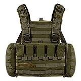 Tasmanian Tiger TT Chest Rig MKII M4 Militär Gurtzeug Kampfmittel-Weste mit 4 M4 Magazin-Taschen und Taschen für 2 US Feldflaschen, Oliv