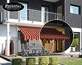 Rollolux LED Klemmmarkise Orange/Schwarz 350 x 120 cm Markise Balkonmarkise Sonnenschutz - mit Gestell ohne Bohren – UV-beständig - Höhenverstellbar 230-300