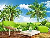 Schmetterlinge und Blumen Grüne Kokosnuss Wandbilder 3D Tapete Dekorative Tapete fototapete 3d effekt tapeten Wohnzimmer Schlafzimmer kinderzimmer-200cm×140cm