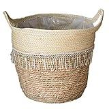 MICHAELA BLAKE Woven Korb Seegras Korb Handgemachte Pflanze Blume Woven-Speicher-Korb mit Handgriff für Ablagekorb oder Pflanzkorb Dekorative Style1